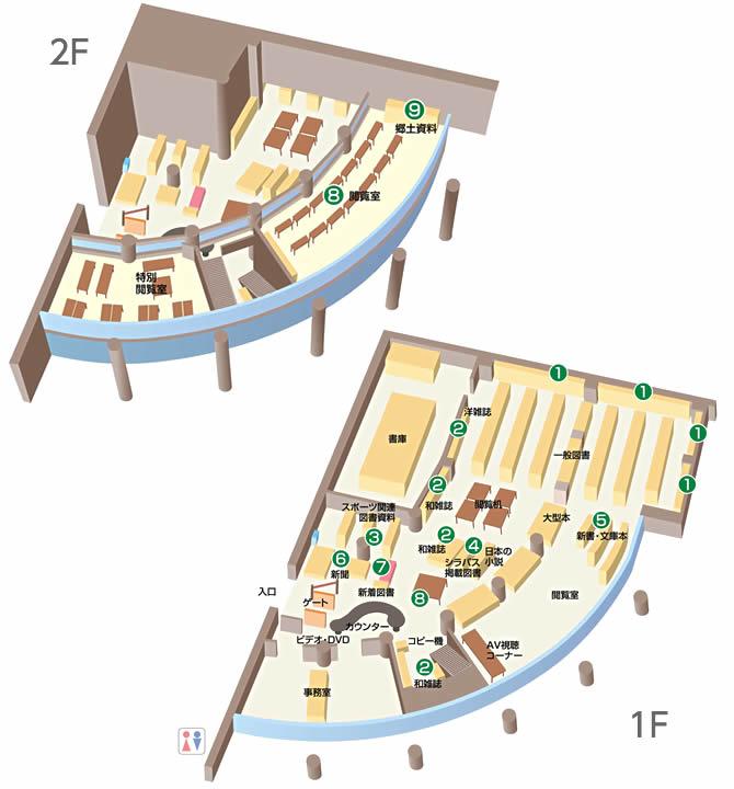 静岡産業大学 磐田図書館のフロアマップ